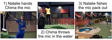 Chima throws mic in hot tub