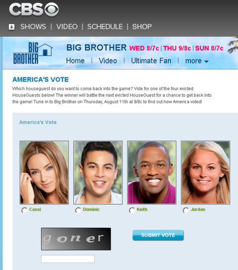 Big Brother 13 America's Vote featuring Jordan