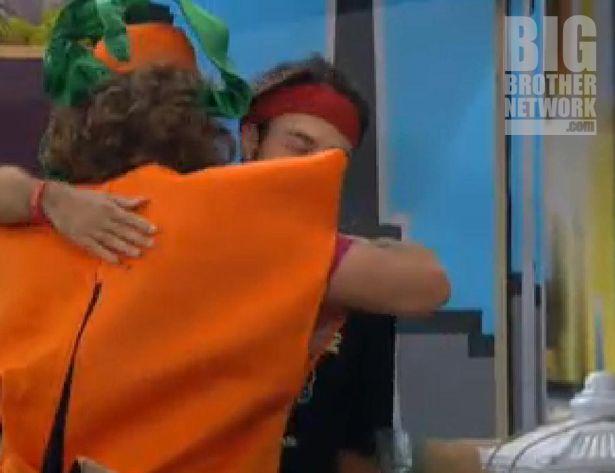 Dan and Frank hug after meeting on Big Brother 14