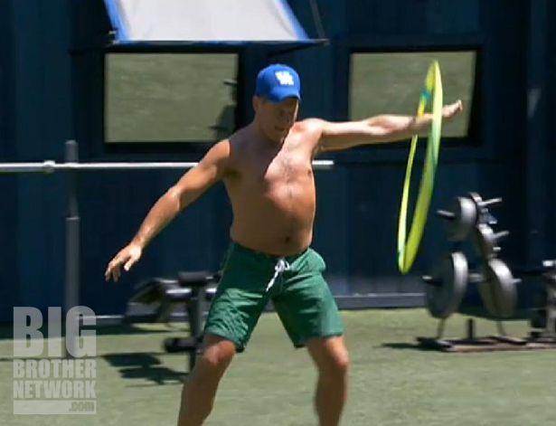 Joe performs with the hula hoop