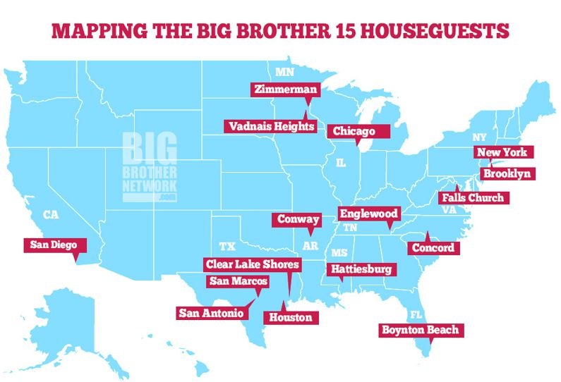 Big Brother 15 Houseguest Map