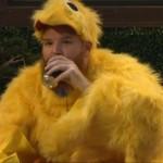 A chicken drinking beer