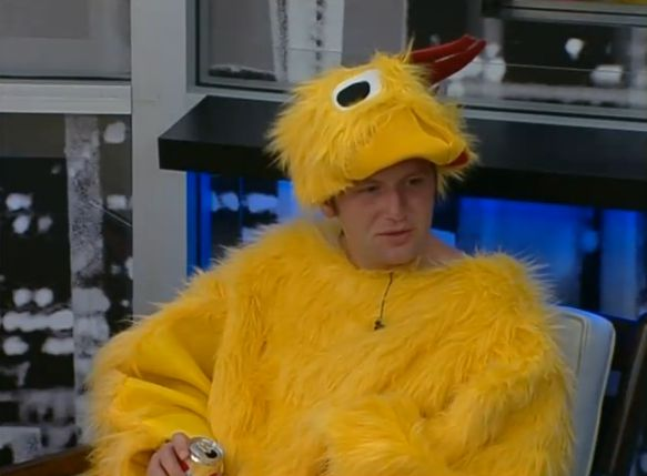 Judd enjoying his chicken suit