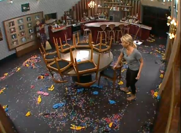 GinaMarie cleans up the kitchen