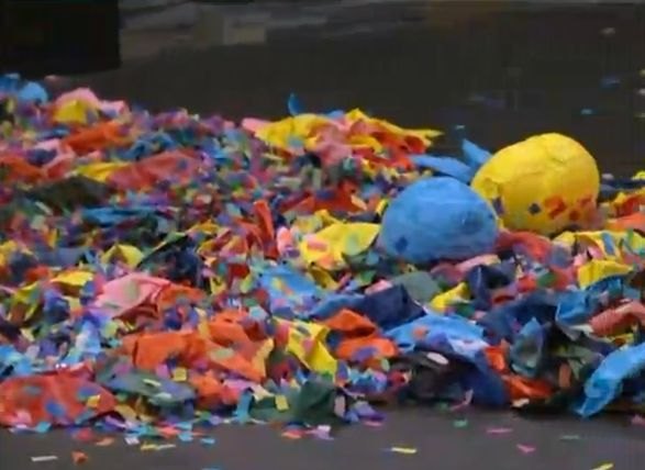 Confetti and balloons