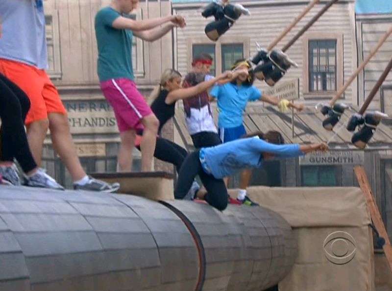 Big Brother 15 HoH comp Elissa falling
