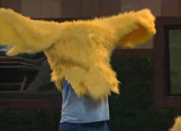 Spencer and his chicken suit