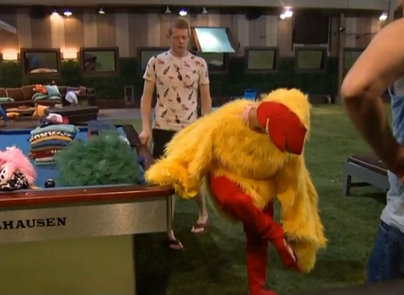 GinaMarie tries on the chicken suit 02
