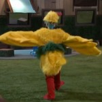 GinaMarie tries on the chicken suit 03