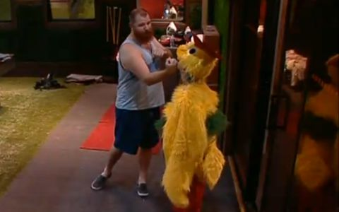 Spencer fights with a chicken