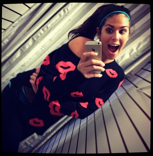 Amanda models the Kisses sweater