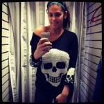Amanda models the Skull sweater