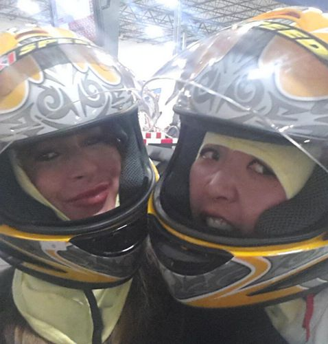 Elissa and Helen Go-Kart Racing