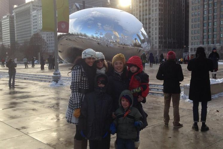 Candice, Elissa, & Helen at the Chicago Cloud Gate