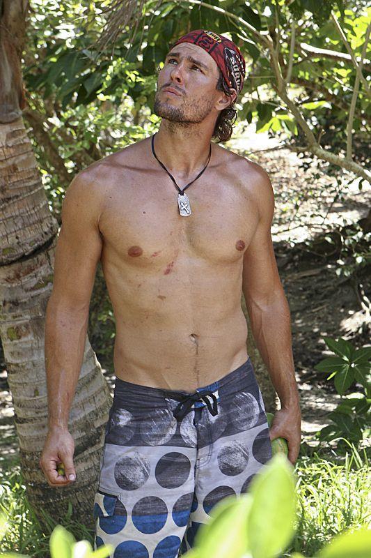 Hayden looks for his shirt