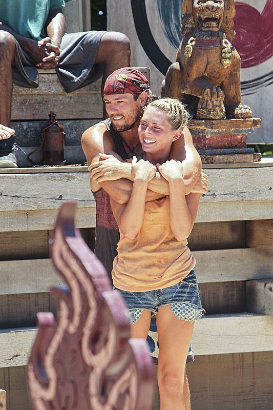 Hayden hugs Kat at Redemption Island