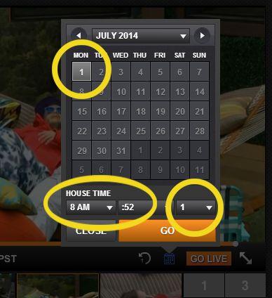 Big Brother Feeds flashback calendar menu