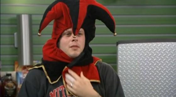 Derrick Levasseur wearing a jester hat