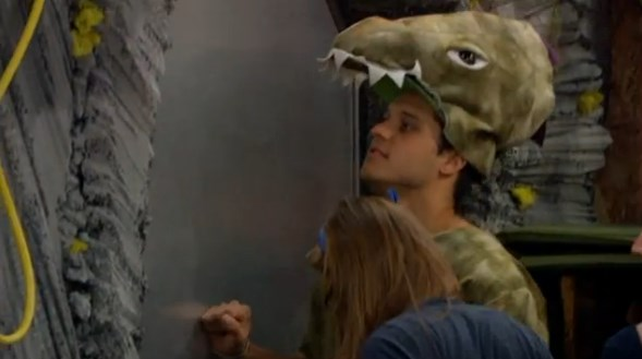 Houseguests inspect the sealed door