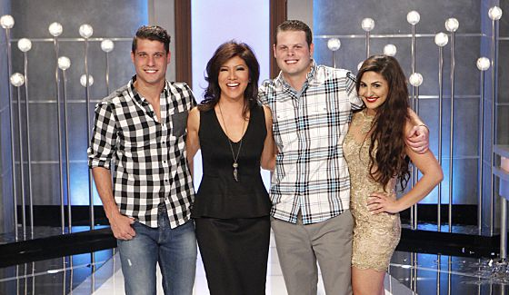 Big Brother finalists Cody, Derrick, & Victoria with host Julie Chen