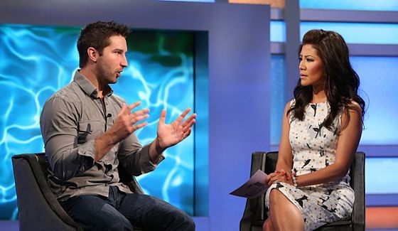 Jeff Weldon & Julie Chen talk outside the Big Brother house