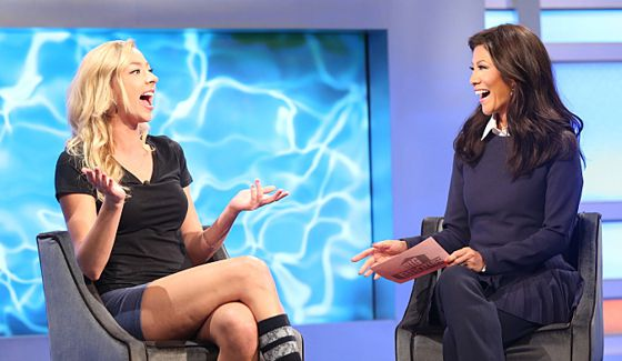 Julia Nolan chats with Julie Chen outside Big Brother 17