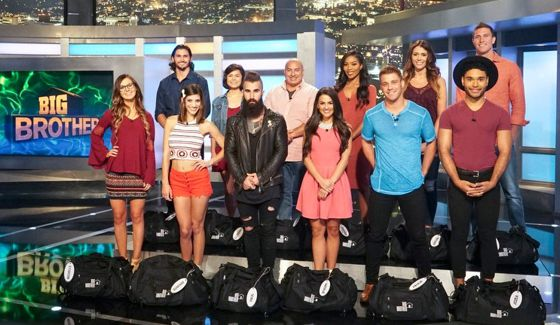 Big Brother 18 cast in front of the Big Brother house