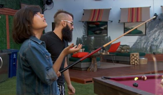 Bridgette and Paul play a game of pool