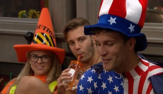 Nicole & Paulie listen intently to Corey's stories on BB18