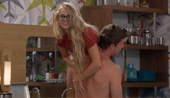 Corey carries Nicole back to his cave