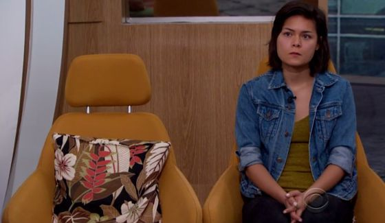 Bridgette sits alone on Big Brother 18