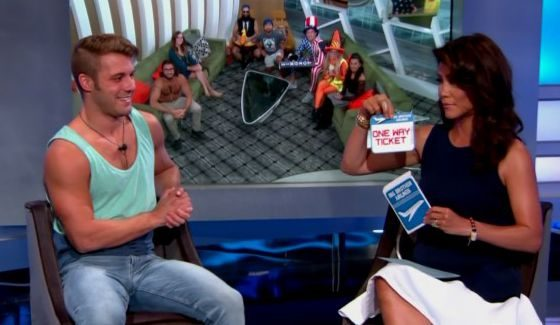 Paulie Calafiore with Julie Chen outside Big Brother 18