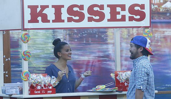 James goes looking for kisses from Natalie