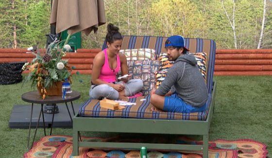 James and Natalie sit together on Big Brother 18