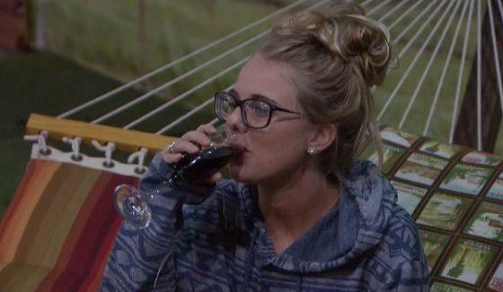 Nicole Franzel takes a sip on BB18