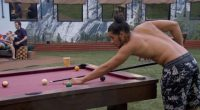 Justin plays pool on BBOTT