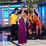Julie Chen poses with the Big Brother 19 Houseguests