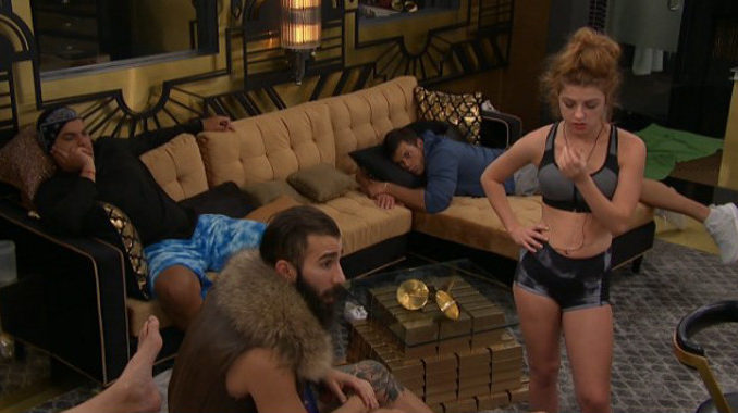 Houseguests gathered in the HoH room on Big Brother 19