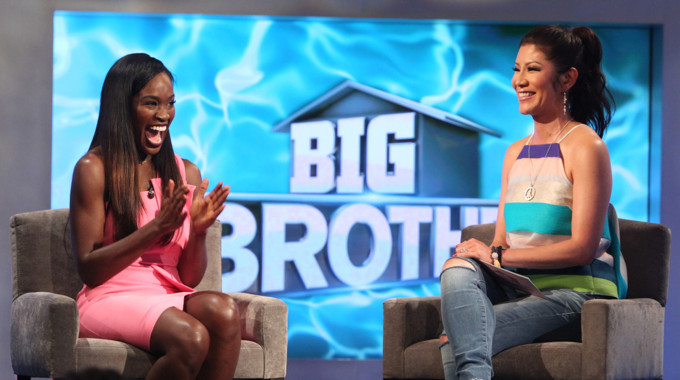 Dominique Cooper with Julie Chen outside the Big Brother house