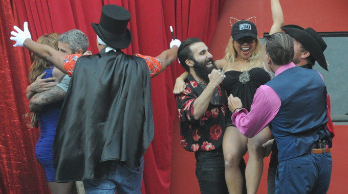 Houseguests celebrate after a BB19 live eviction