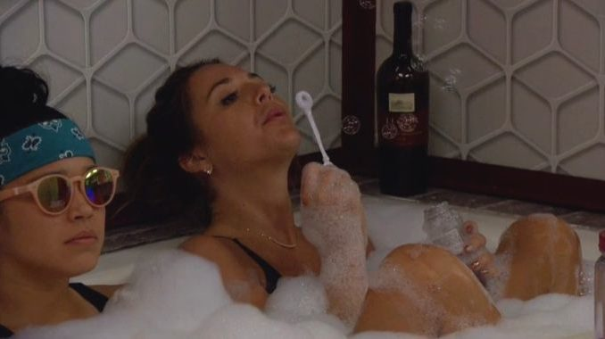Angela and Kaycee in the tub on Big Brother 20