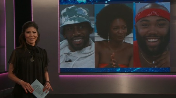 Julie Chen and Final 3 on Big Brother 23